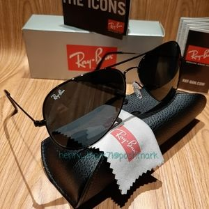 Authentic Ray-Ban Aviator Black RB3025 New ITALY